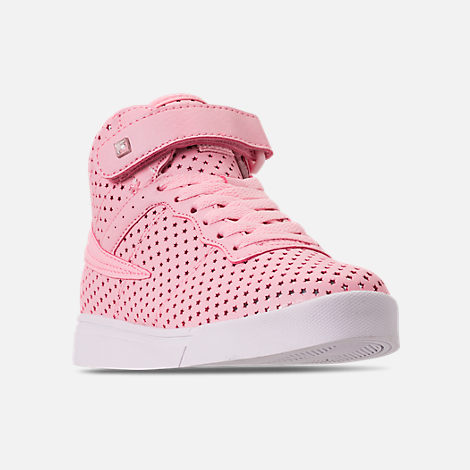 Three Quarter view of Girls' Little Kids' Fila Vulc 13 MP Stars Hook-and-Loop Casual Shoes in Pale Pink