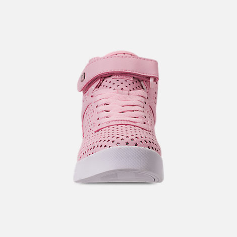 Front view of Girls' Little Kids' Fila Vulc 13 MP Stars Hook-and-Loop Casual Shoes in Pale Pink
