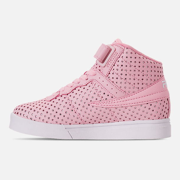 Left view of Girls' Little Kids' Fila Vulc 13 MP Stars Hook-and-Loop Casual Shoes in Pale Pink