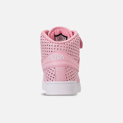 Back view of Girls' Little Kids' Fila Vulc 13 MP Stars Hook-and-Loop Casual Shoes in Pale Pink