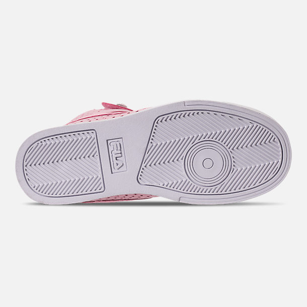 Bottom view of Girls' Little Kids' Fila Vulc 13 MP Stars Hook-and-Loop Casual Shoes in Pale Pink