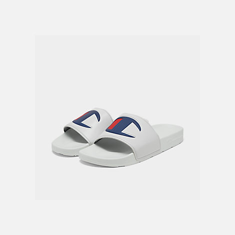 1f628315ec083 Three Quarter view of Men s Champion IPO Slide Sandals in White White