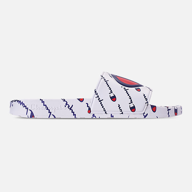 Right view of Men's Champion IPO Repeat Slide Sandals in White/White Repeat