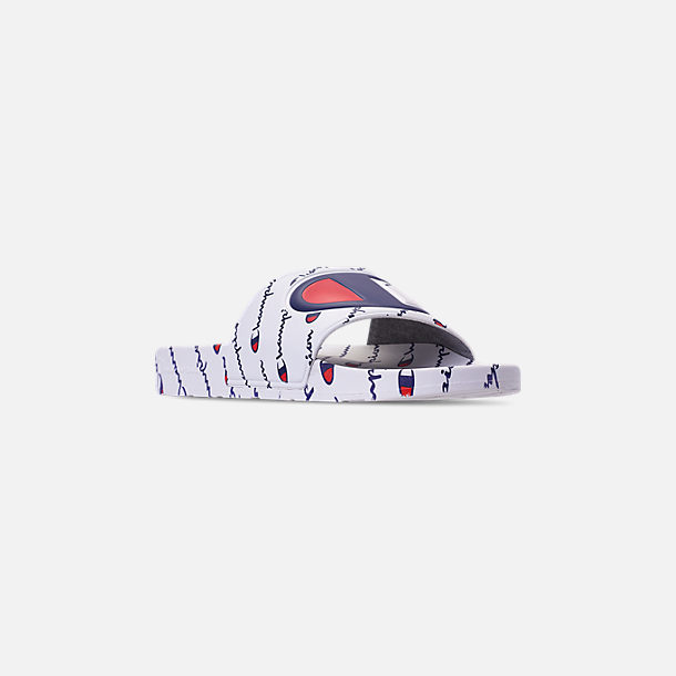 Three Quarter view of Men's Champion IPO Repeat Slide Sandals in White/White Repeat