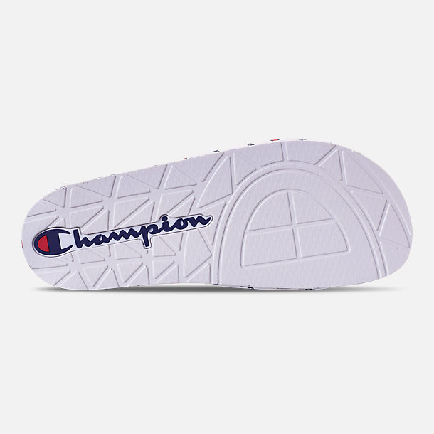 Bottom view of Men's Champion IPO Repeat Slide Sandals in White/White Repeat