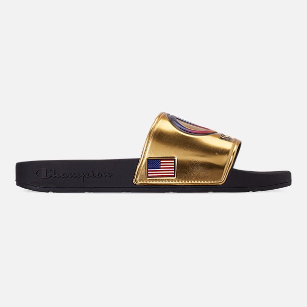 Right view of Men's Champion IPO Metallic Slide Sandals in Gold Metallic