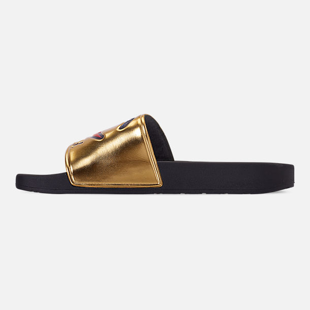 Left view of Men's Champion IPO Metallic Slide Sandals in Gold Metallic