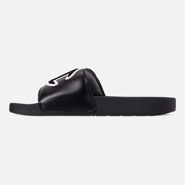 Left view of Men's Champion IPO Chenille Slide Sandals in Black