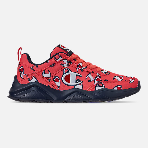 e13c200f1bd2c9 Right view of Men s Champion 93Eighteen Repeat Casual Sneakers in Groovy  Papaya Navy