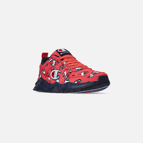 Three Quarter view of Men's Champion 93Eighteen Repeat Casual Sneakers in Groovy Papaya/Navy