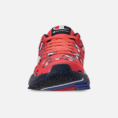 Front view of Men's Champion 93Eighteen Repeat Casual Sneakers in Groovy Papaya/Navy
