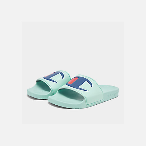 710f7e56f23cd Three Quarter view of Men s Champion IPO Slide Sandals in Waterfall Green