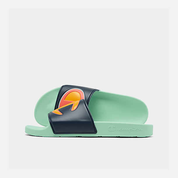 Right view of Men's Champion IPO Color Block Slide Sandals in Navy Multi/Waterfall Green
