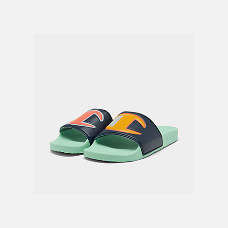 Three Quarter view of Men's Champion IPO Color Block Slide Sandals in Navy Multi/Waterfall Green
