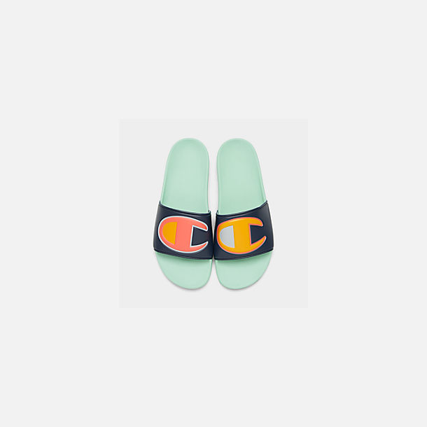 Back view of Men's Champion IPO Color Block Slide Sandals in Navy Multi/Waterfall Green