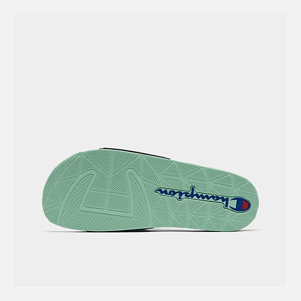 Bottom view of Men's Champion IPO Color Block Slide Sandals in Navy Multi/Waterfall Green