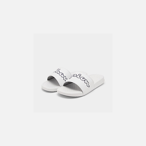 323e11bac Three Quarter view of Men s Champion Super Slide Split Script Slide Sandals  in White Black