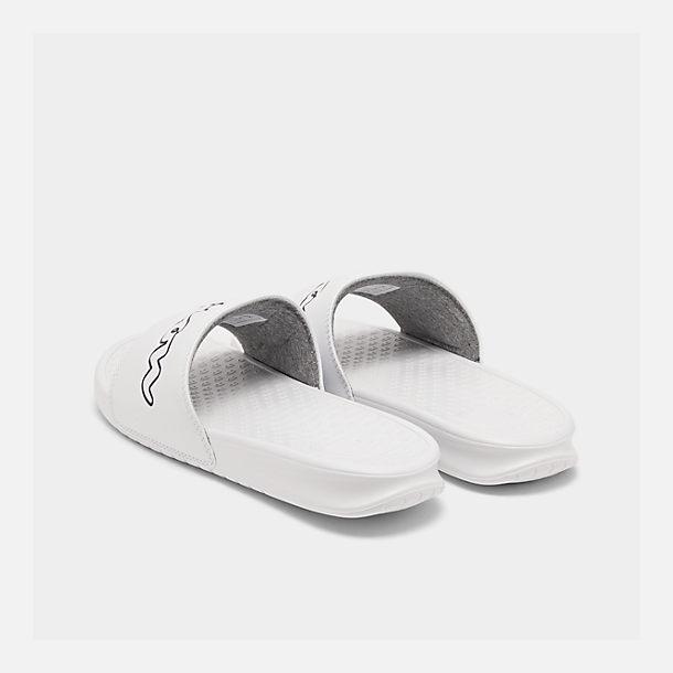 f4b868012 Left view of Men s Champion Super Slide Split Script Slide Sandals in White  Black