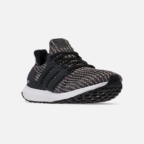 Three Quarter view of Men's adidas UltraBOOST Running Shoes in Core Black/Carbon/Ash Silver