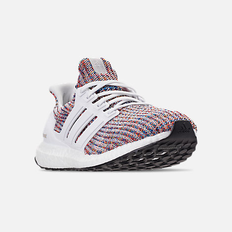 Three Quarter view of Men's adidas UltraBOOST Running Shoes in Footwear White/Collegiate Navy