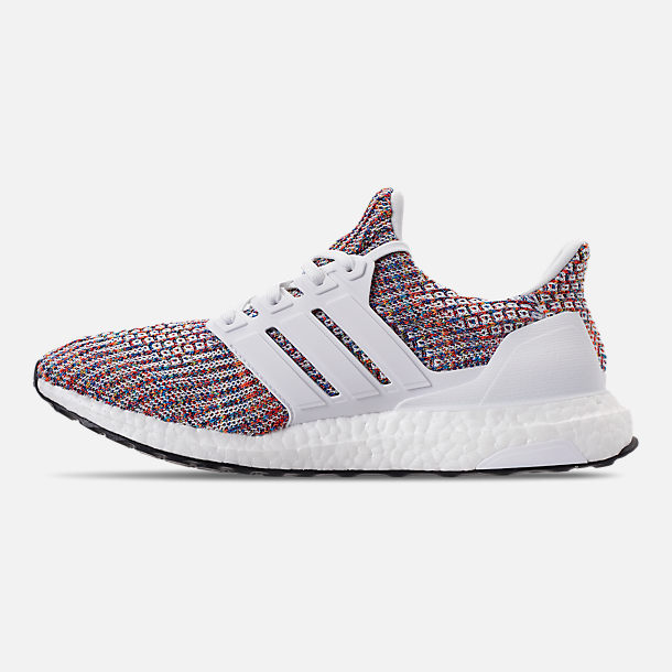 Left view of Men's adidas UltraBOOST Running Shoes in Footwear White/Collegiate Navy