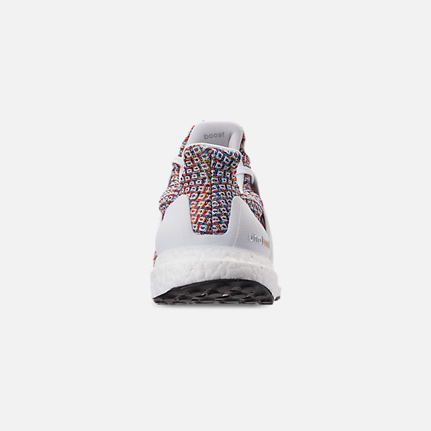 Back view of Men's adidas UltraBOOST Running Shoes in Footwear White/Collegiate Navy