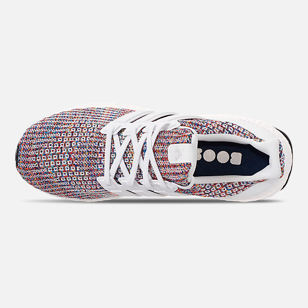 Top view of Men's adidas UltraBOOST Running Shoes in Footwear White/Collegiate Navy