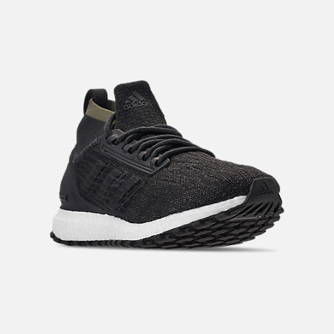 Three Quarter view of Men's adidas UltraBOOST ATR Mid Running Shoes in Carbon/Core Black/Footwear White