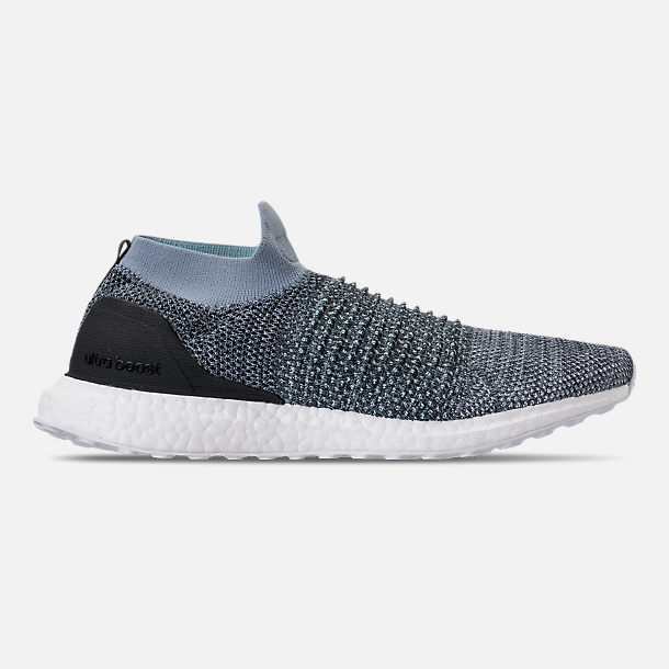 Right view of Men's adidas UltraBOOST Laceless x Parley Running Shoes in Raw Grey/Carbon/Blue Spirit