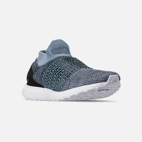 Three Quarter view of Men's adidas UltraBOOST Laceless x Parley Running Shoes in Raw Grey/Carbon/Blue Spirit