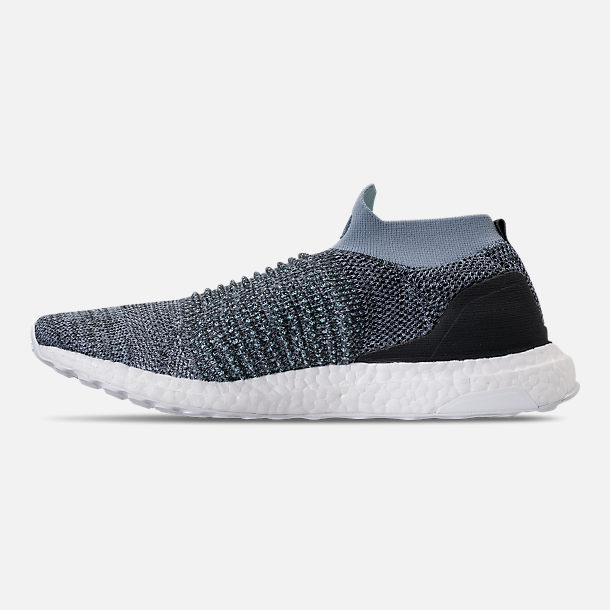 Left view of Men's adidas UltraBOOST Laceless x Parley Running Shoes in Raw Grey/Carbon/Blue Spirit