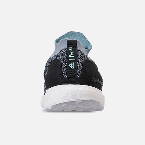 Back view of Men's adidas UltraBOOST Laceless x Parley Running Shoes in Raw Grey/Carbon/Blue Spirit