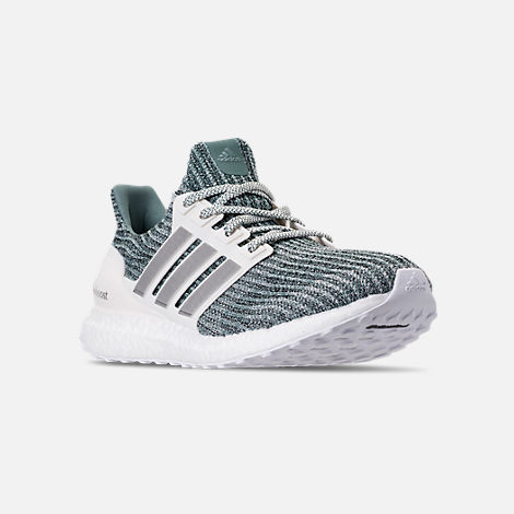 Three Quarter view of Men's adidas UltraBOOST x Parley Running Shoes in Ocean Blue/White/Silver