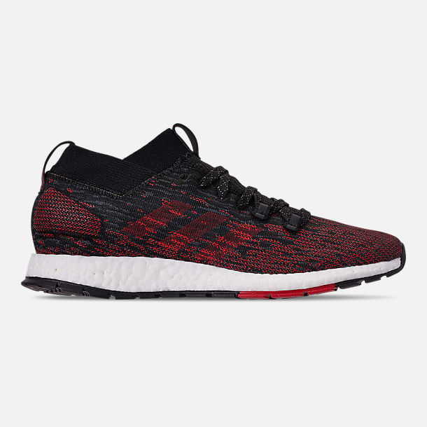 Right view of Men's adidas PureBOOST RBL Running Shoes in Core Black/Grey/Scarlet