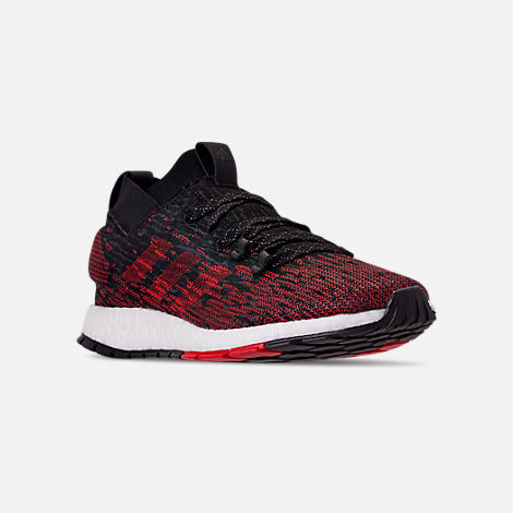 Three Quarter view of Men's adidas PureBOOST RBL Running Shoes in Core Black/Grey/Scarlet