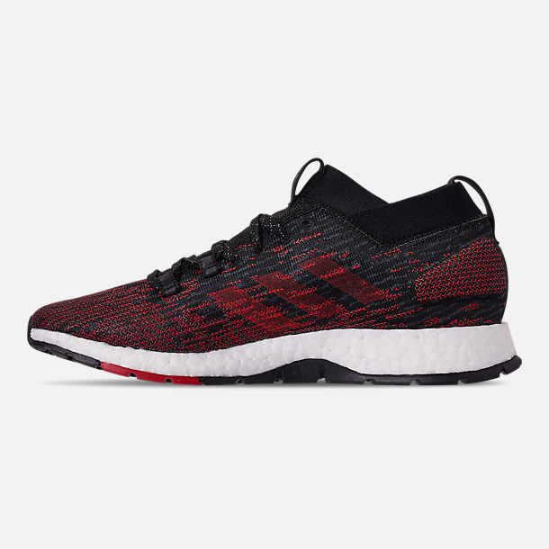 Left view of Men's adidas PureBOOST RBL Running Shoes in Core Black/Grey/Scarlet