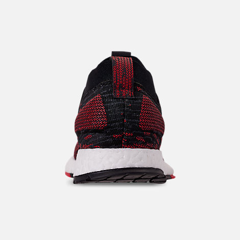 Back view of Men's adidas PureBOOST RBL Running Shoes in Core Black/Grey/Scarlet