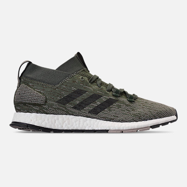 Right view of Men's adidas PureBOOST RBL Running Shoes in Base Green/Core Black/Sesame