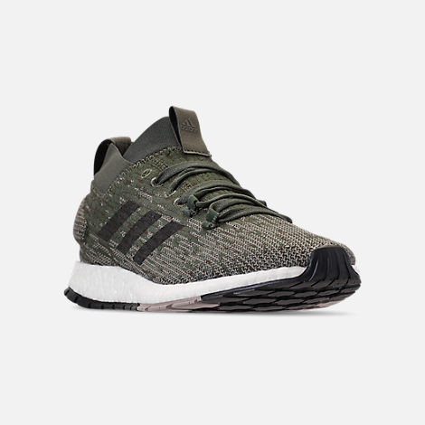 Three Quarter view of Men's adidas PureBOOST RBL Running Shoes in Base Green/Core Black/Sesame