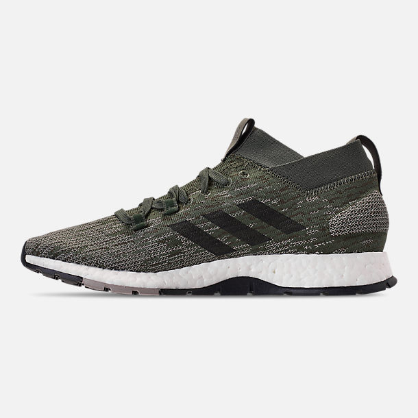 Left view of Men's adidas PureBOOST RBL Running Shoes in Base Green/Core Black/Sesame