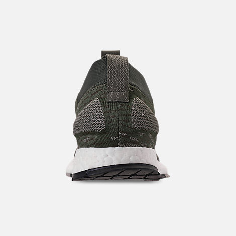 Back view of Men's adidas PureBOOST RBL Running Shoes in Base Green/Core Black/Sesame