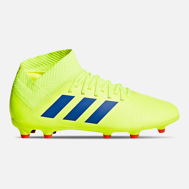Right view of Little Kids' adidas Nemeziz 18.3 Firm Ground Soccer Cleats in Solar Yellow/Football Blue/Active Red