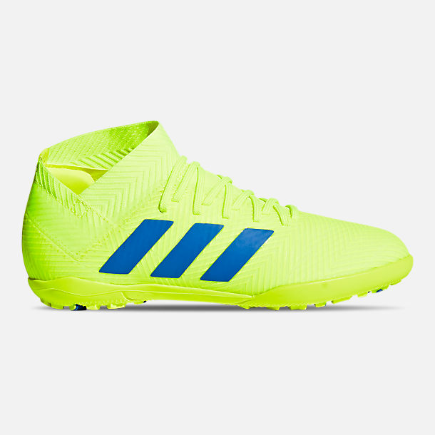 Right view of Big Kids' adidas Nemeziz 18.3 Turf Soccer Cleats in Solar Yellow/Football Blue/Active Red