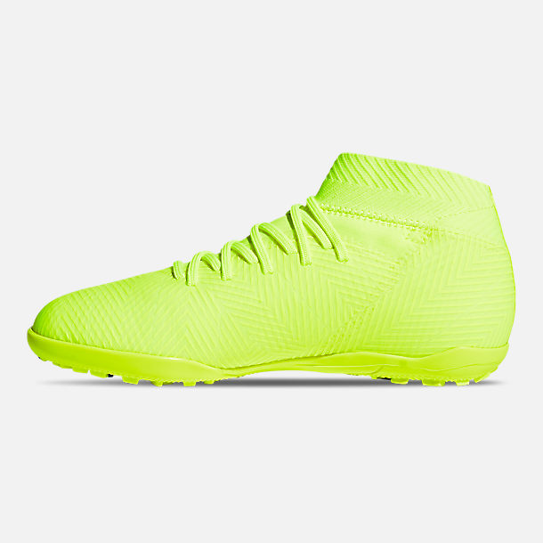Left view of Big Kids' adidas Nemeziz 18.3 Turf Soccer Cleats in Solar Yellow/Football Blue/Active Red