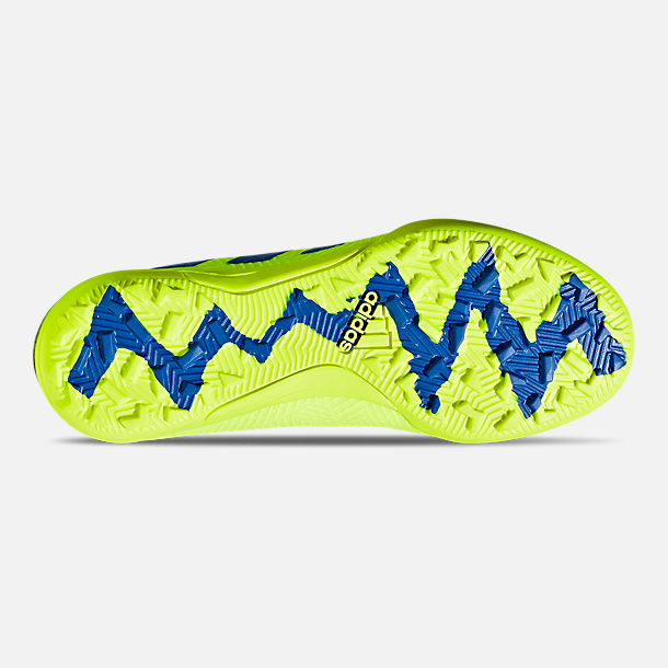Bottom view of Big Kids' adidas Nemeziz 18.3 Turf Soccer Cleats in Solar Yellow/Football Blue/Active Red