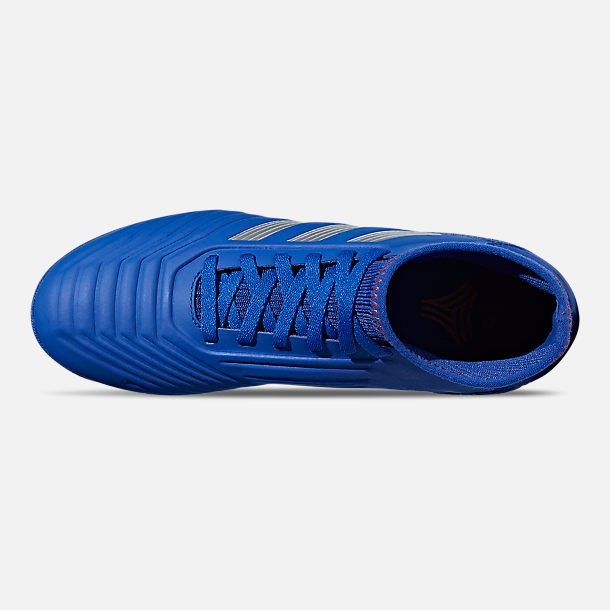 Top view of Little Kids' adidas Predator 19.3 Turf Soccer Cleats in Bold Blue/Silver Metallic/Active Red