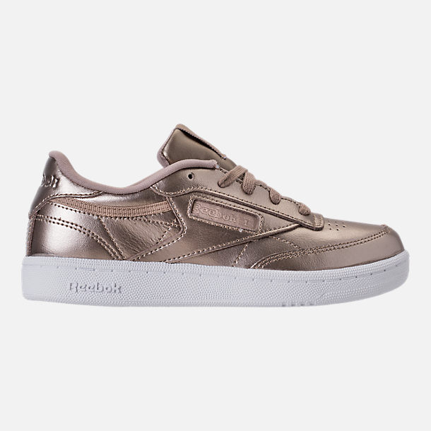 Right view of Girls' Preschool Reebok Club C Casual Shoes in Grey Gold/White