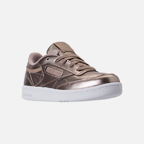 Three Quarter view of Girls' Preschool Reebok Club C Casual Shoes in Grey Gold/White