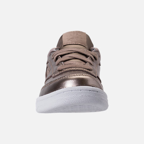 Front view of Girls' Preschool Reebok Club C Casual Shoes in Grey Gold/White