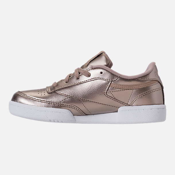 Left view of Girls' Preschool Reebok Club C Casual Shoes in Grey Gold/White